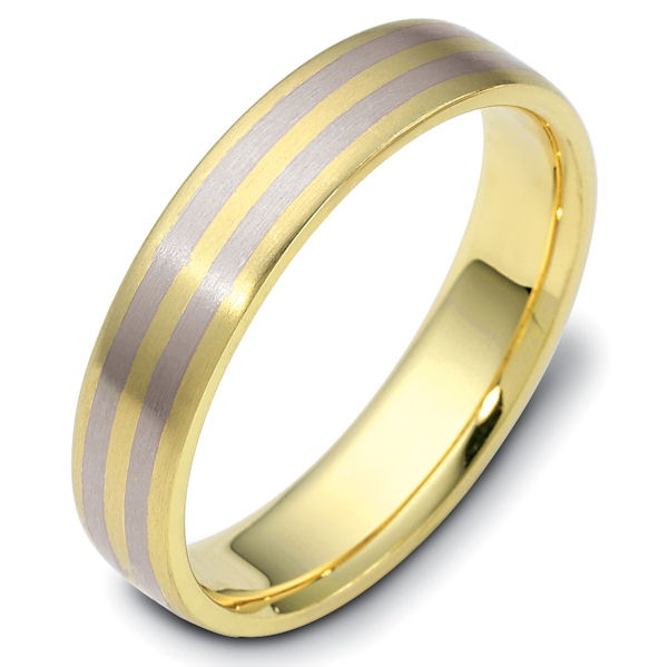 Item # 111421E - 18 kt two-tone hand made comfort fit Wedding Band 5.0 mm wide. The whole ring is a matte finish. Different finishes may be selected or specified.
