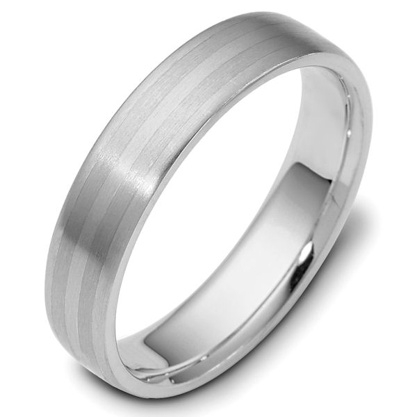 Item # 111421PP - Platinum hand made comfort fit Wedding Band 5.0 mm wide. The whole ring is a matte finish. Different finishes may be selected or specified.