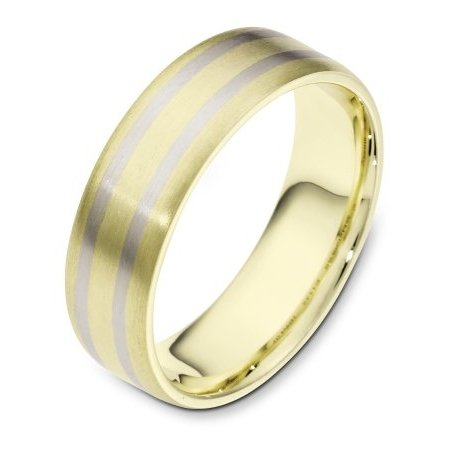 Item # 111431E - 18 kt two-tone hand made comfort fit Wedding Band 6.5 mm wide. The whole ring is a matte finish. Different finishes may be selected or specified.
