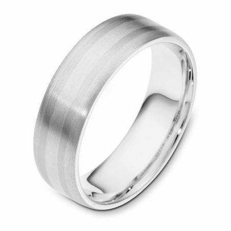 Item # 111431W - 14 kt white gold, hand made comfort fit Wedding Band 6.5 mm wide. The whole ring is a matte finish. Different finishes may be selected or specified.