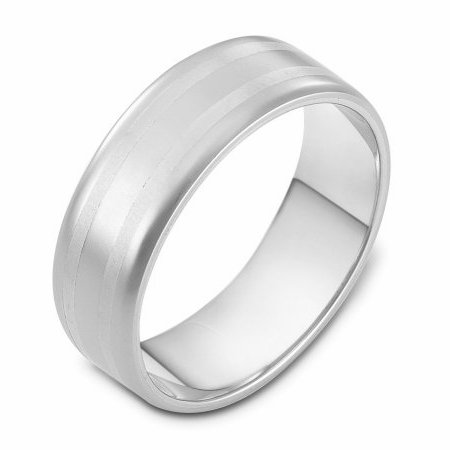 Item # 111441W - 14 kt white gold, hand made comfort fit Wedding Band 6.5 mm wide. The whole ring is a matte finish. Different finishes may be selected or specified.