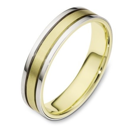 Item # 111451E - 18 kt two-tone hand made comfort fit Wedding Band 4.5 mm wide. The center is a matte finish and the outer edges are polished. Different finishes may be selected or specified.