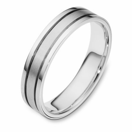 Item # 111451WE - 18 kt white gold, hand made comfort fit Wedding Band 4.5 mm wide. The center is a matte finish and the outer edges are polished. Different finishes may be selected or specified.