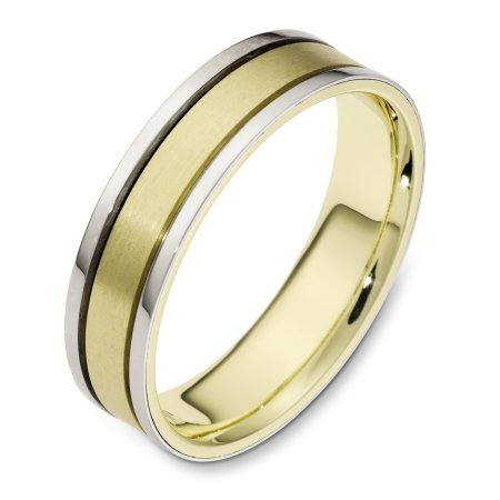 Item # 111461E - 18 kt two-tone hand made comfort fit Wedding Band 5.5 mm wide. The center is a matte finish and the outer edges are polished. Different finishes may be selected or specified.