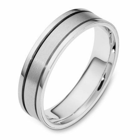 Item # 111461WE - 18 kt white gold, hand made comfort fit Wedding Band 5.5 mm wide. The center is a matte finish and the outer edges are polished. Different finishes may be selected or specified.