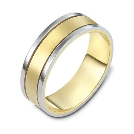 Item # 111471 - 14 kt two-tone hand made comfort fit Wedding Band 7.0 mm wide. The center is a matte finish and the outer edges are polished. Different finishes may be selected or specified.