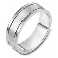 White Gold Comfort Fit, 7.0mm Wide Wedding Band