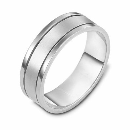 Item # 111471W - 14 kt white gold, hand made comfort fit Wedding Band 7.0 mm wide. The center is a matte finish and the outer edges are polished. Different finishes may be selected or specified.