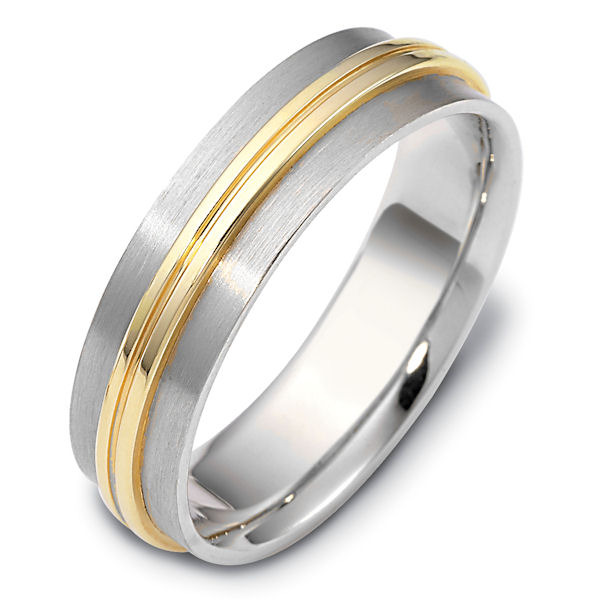 Item # 111481E - 18 kt two-tone hand made comfort fit Wedding Band 6.0 mm wide. The raised center portion is polished and the rest of the band is brushed. Different finishes may be selected or specified.