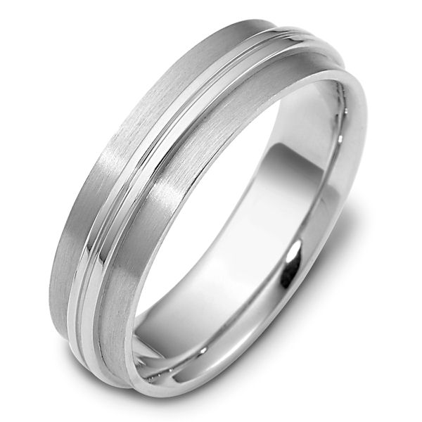 Item # 111481WE - 18 kt white gold, hand made comfort fit Wedding Band 6.0 mm wide. The raised center portion is polished and the rest of the band is brushed. Different finishes may be selected or specified.