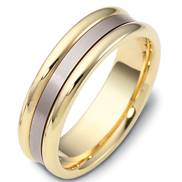 Item # 111491E - 18 kt two-tone hand made comfort fit Wedding Band 6.5 mm wide. The center of the ring is brushed and the outer edges are polished. Different finishes may be selected or specified.