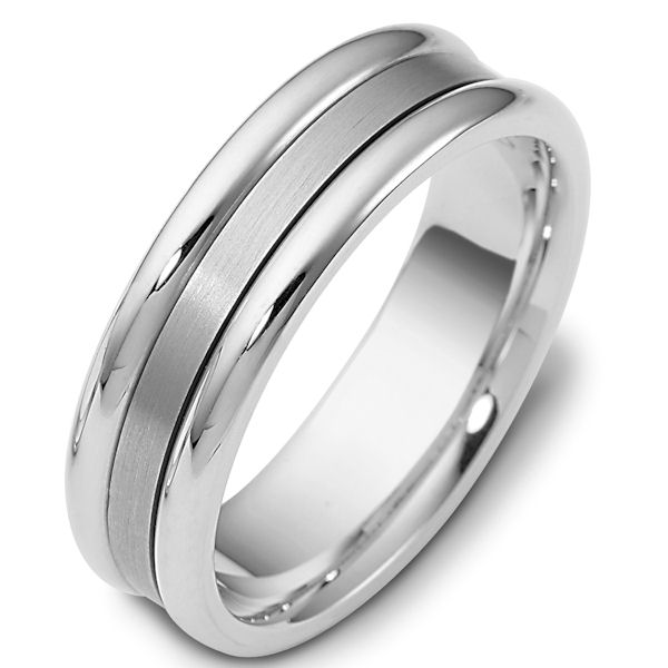 Item # 111491WE - 18 kt white gold, hand made comfort fit Wedding Band 6.5 mm wide. The center of the ring is brushed and the outer edges are polished. Different finishes may be selected or specified.