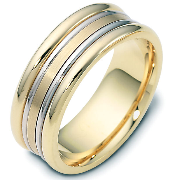 Item # 111501 - 14 kt two-tone hand made comfort fit Wedding Band 8.0 mm wide. The center portion of the band is a matte finish. The rest of the ring is polished. Different finishes may be selected or specified.