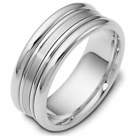 14K White Gold Comfort Fit, 8.0mm Wide Wedding Band