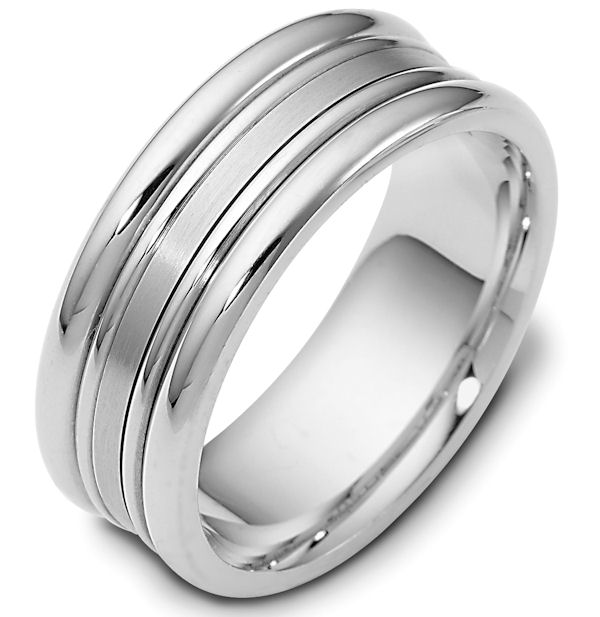 Item # 111501W - 14 kt white gold, hand made comfort fit Wedding Band 8.0 mm wide. The center portion of the band is a matte finish. The rest of the ring is polished. Different finishes may be selected or specified.
