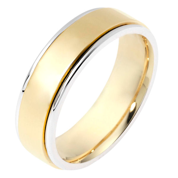 Item # 111511E - 18 kt two-tone hand made comfort fit Wedding Band 6.0 mm wide. The whole ring is polished. Different finishes may be selected or specified.