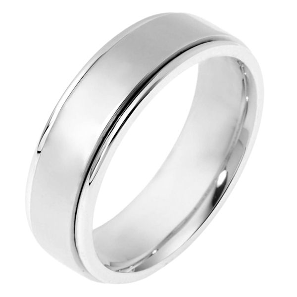 Item # 111511WE - 18 kt white gold, hand made comfort fit Wedding Band 6.0 mm wide. The whole ring is polished. Different finishes may be selected or specified.