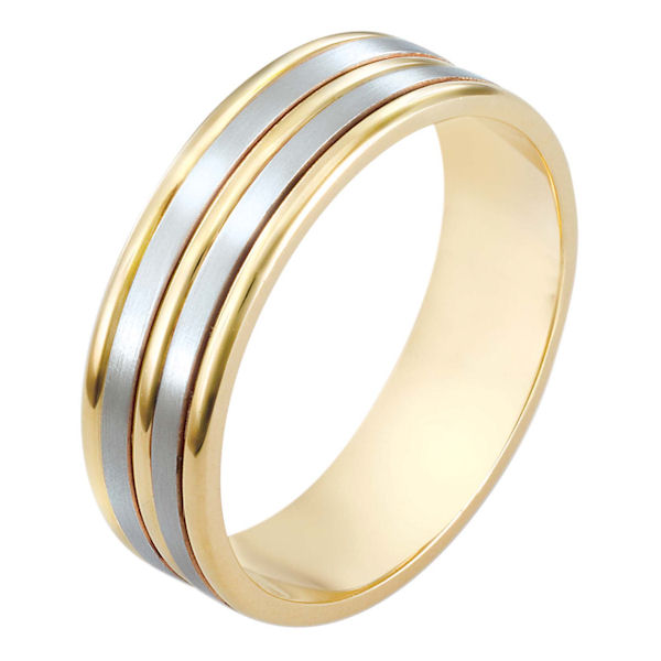 Item # 111521E - 18 kt two-tone hand made comfort fit Wedding Band 6.5 mm wide. The two flat pieces in the band have a matte finish. The rest of the has a polished. Different finishes may be selected or specified.