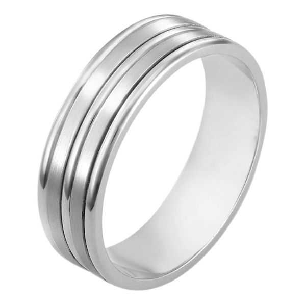 Item # 111521WE - 18 kt white gold, hand made comfort fit Wedding Band 6.5 mm wide. The two flat pieces in the band have a matte finish. The rest of the has a polished. Different finishes may be selected or specified.