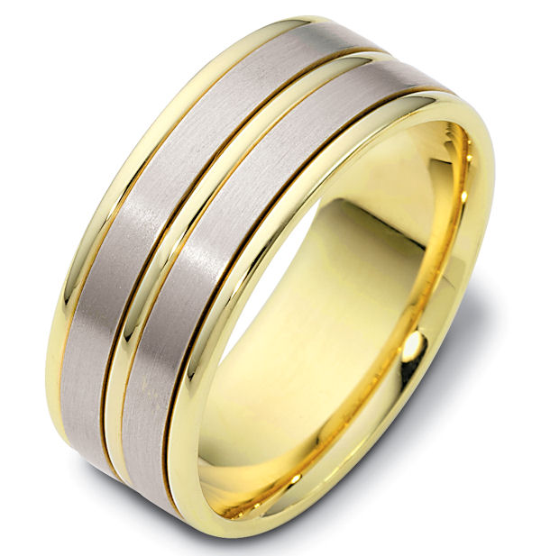 Item # 111531 - 14 kt two-tone hand made comfort fit Wedding Band 8.5 mm wide. The two flat pieces in the band have a matte finish. The rest of the has a polished. Different finishes may be selected or specified.