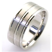 18K White Gold Comfort Fit, 8.5mm Wide Wedding Band