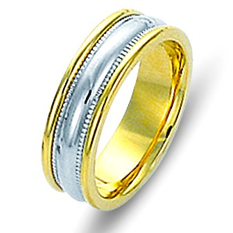Item # 111541E - 18kt gold two-tone, comfort fit Wedding Band 6.0 mm wide. The ring has milgrain on each side and is completely polished. Different finishes may be selected or specified.