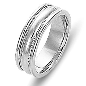 Item # 111541PP - Platinum, comfort fit Wedding Band 6.0 mm wide. The ring has milgrain on each side and is completely polished. Different finishes may be selected or specified.
