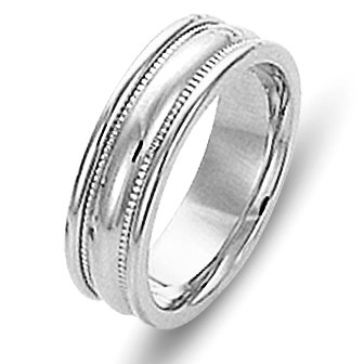 Item # 111541WE - 18kt white gold, comfort fit Wedding Band 6.0 mm wide. The ring has milgrain on each side and is completely polished. Different finishes may be selected or specified.