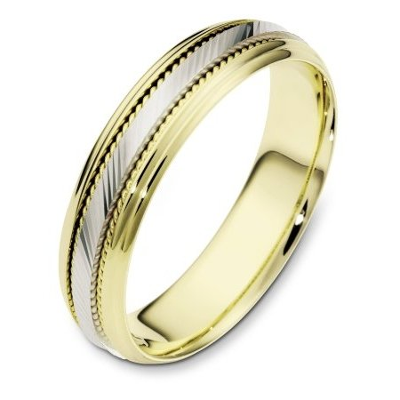 Item # 111631E - 18 kt two-tone hand made, wedding band 5.5 mm wide. The center of the ring has a design with milgrain on each side of the design. The whole ring is polished. Different finishes may be selected or specified.