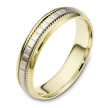 Item # 111641 - 14 kt two-tone hand made comfort fit Wedding Band 5.0 mm wide. The center of the ring has a design with milgrain on each side. The whole ring is polished. Different finishes may be selected or specified.