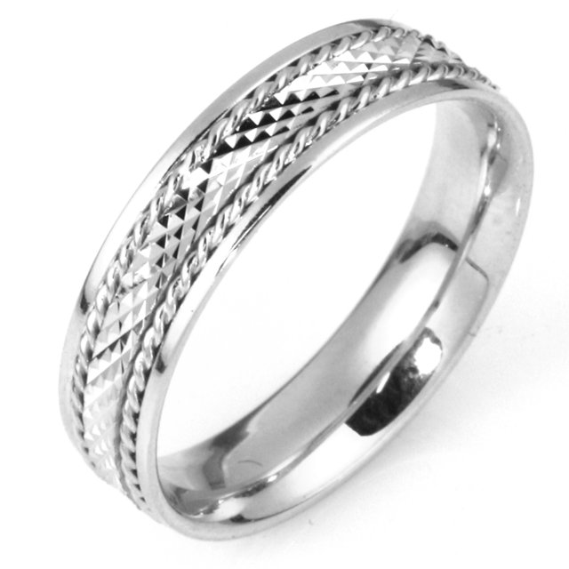 Item # 111651WE - 18 kt white gold, hand made 5.5 mm wide comfort fit, crosscut center Wedding Band. The center of the band has a crosscut design with a handmade rope on each side. The whole ring is polished. Different finishes may be selected or specified.