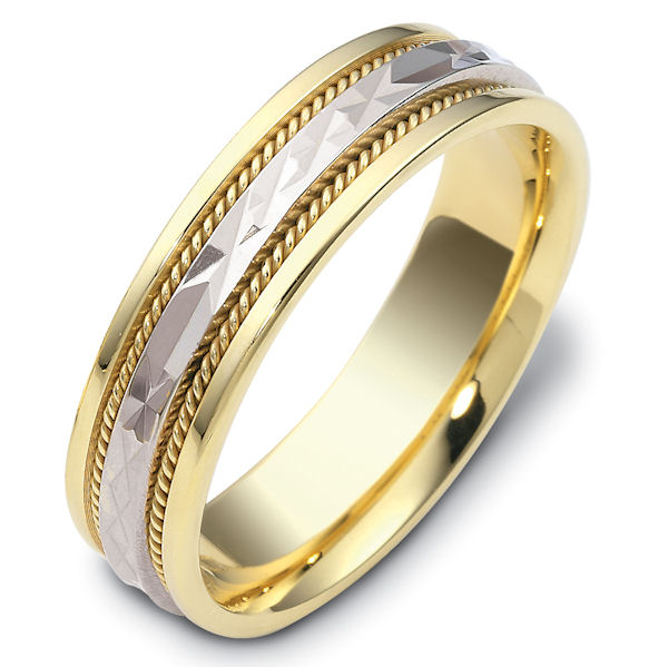 Item # 111661 - 14 kt two-tone hand made comfort fit Wedding Band 6.0 mm wide. The center of the ring has a design with a handmade rope on each side. The whole ring is polished. Different finishes may be selected or specified.