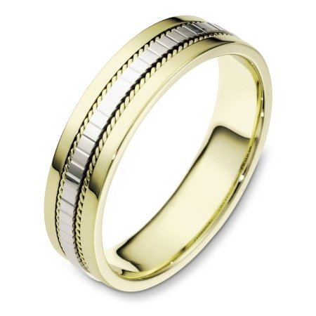 Item # 111671E - 18 kt two-tone hand made, comfort fit Wedding Band 5.5 mm wide. The center of the ring has a design with a handmade rope on each side. The whole ring is polished. Different finishes may be selected or specified.