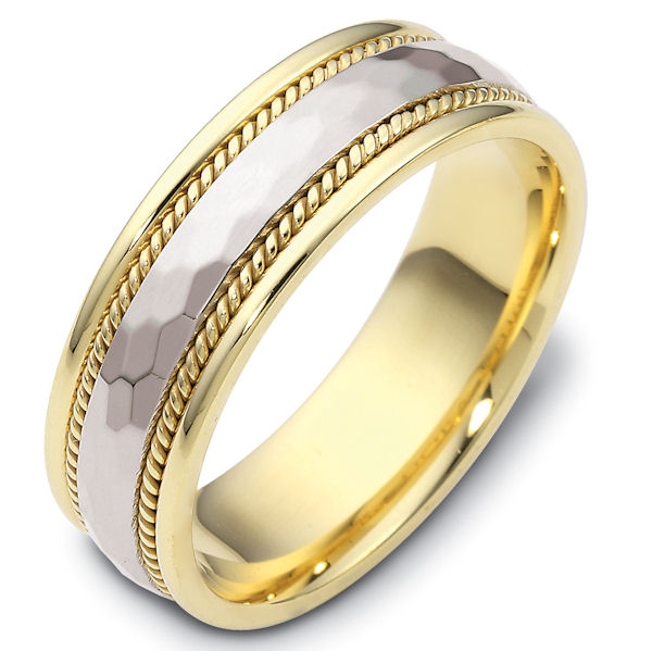 Item # 111681E - 18kt gold two-tone hand made comfort fit  hammer finish, Wedding Band 7.5 mm wide. The center of the ring has a hammered matte finish with one handmade rope on each side. The rest of the  ring is polished. Different finishes may be selected or specified