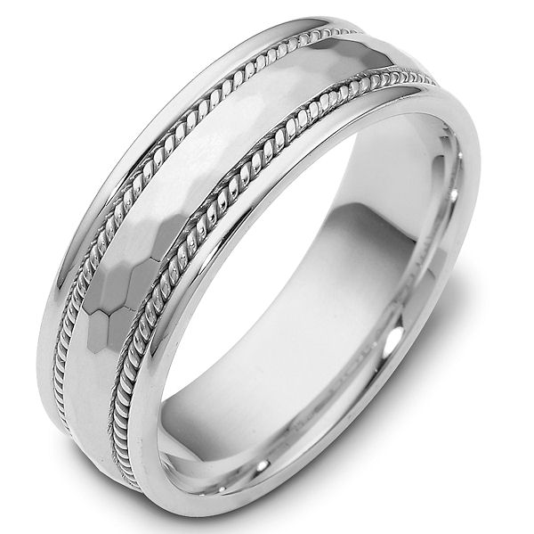 Item # 111681W - 14 kt white gold, hand made,  hammer finish, Wedding Band 7.5 mm wide. The center of the ring has a hammered matte finish with one handmade rope on each side. The rest of the  ring is polished. Different finishes may be selected or specified.