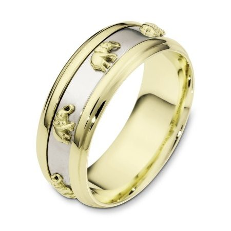 Gold Wedding Band 14K Two Tone Band