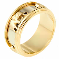 18K Two Tone Gold Wedding Band