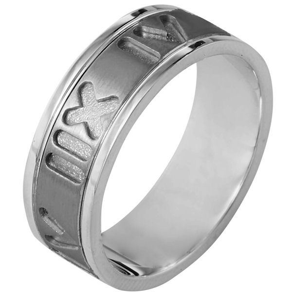 Item # 111911NTG - 14K White gold and titanium, Spinning Comfort Fit, 7.5 mm wide, center rotating ring. The center of the band has carved roman numerial numbers all around the band and spins. It is a matte finish in the center and polished on the outer edges. Different finishes may be selected or specified.