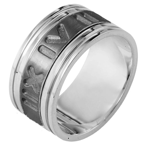 Item # 111921TG - 14K White gold and titanium, Spinning Comfort Fit, 11.0 mm wide, center rotating ring. The center of the band has carved roman numerial numbers all around the band and spins. It is a matte finish in the center and polished on the outer edges. Different finishes may be selected or specified.