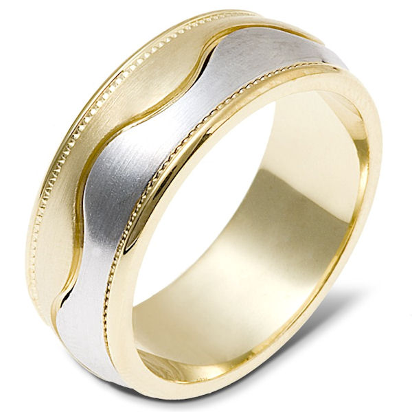 Item # 112051 - 14 kt two-tone hand made comfort fit Wedding Band 8.0 mm wide. The ring has a milgrain on each side of the band. The center is matte and the outer edges are polished. Different finishes may be selected or specified.
