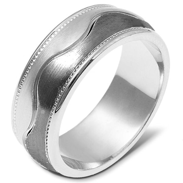 Item # 112051TG - 14K White gold and titanium, comfort fit, 8.0 mm wide ring. The ring has a milgrain on each side of the band. The center is matte and the outer edges are polished. Different finishes may be selected or specified.