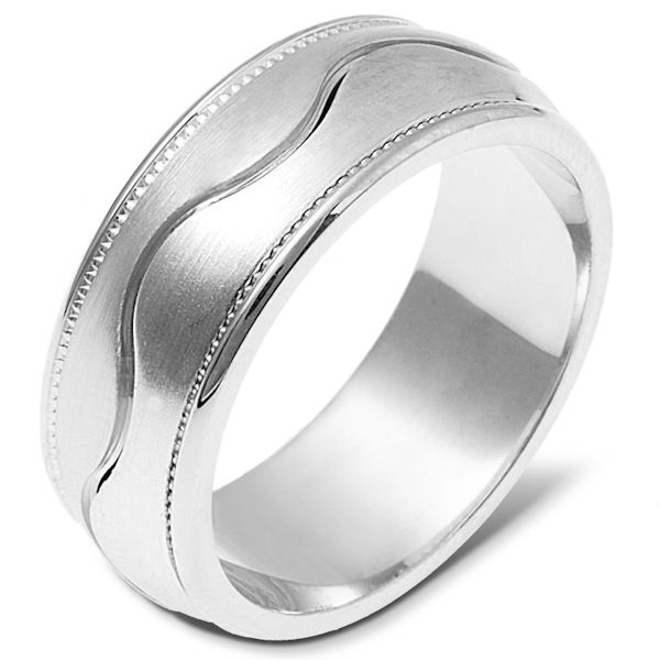 Item # 112051W - 14 kt white gold, hand made comfort fit Wedding Band 8.0 mm wide. The ring has a milgrain on each side of the band. The center is matte and the outer edges are polished. Different finishes may be selected or specified.