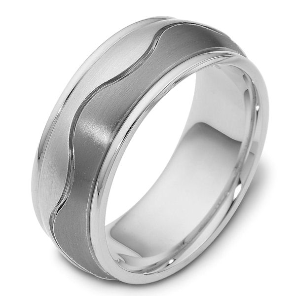 Item # 112071TG - 14K White gold and titanium, comfort fit, 8.5 mm wide ring. The ring has a carved curvy line in the center. The center of the ring is matte and the outer edges are polished. Different finishes may be selected or specified.