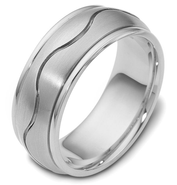 Item # 112071WE - 18 kt white gold, hand made comfort fit Wedding Band 8.5 mm wide. The ring has a carved curvy line in the center. The center of the ring is matte and the outer edges are polished. Different finishes may be selected or specified.