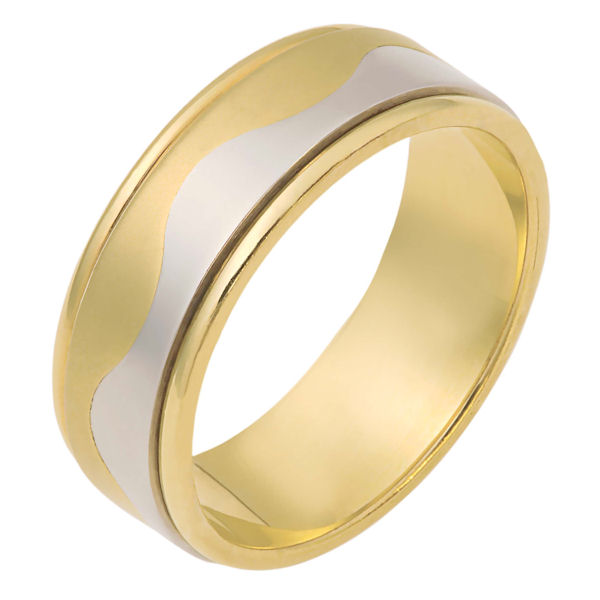 Item # 112081E - 18 kt two-tone hand made comfort fit Wedding Band 7.5 mm wide. The ring is flat and a curvy carved line lies in the center. The center of the ring is matte finish and the outer edges are polished. Different finishes may be selected or specified.