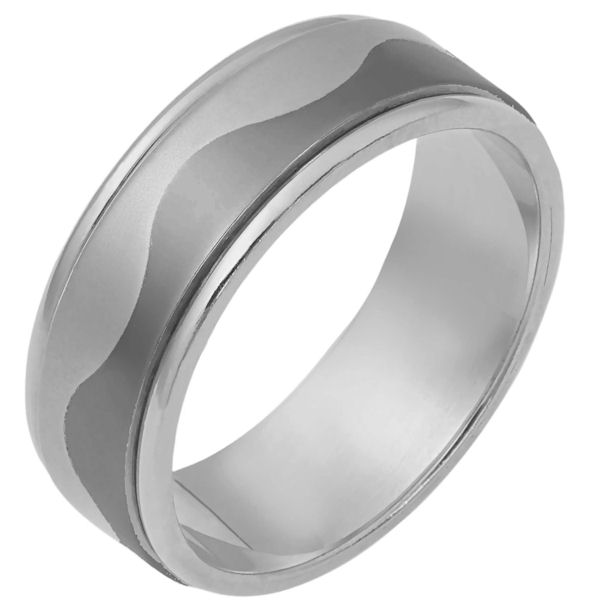 Item # 112081TG - 14K White gold and titanium, comfort fit, 7.5 mm wide ring. The ring is flat and a curvy carved line lies in the center. The center of the ring is matte finish and the outer edges are polished. Different finishes may be selected or specified.