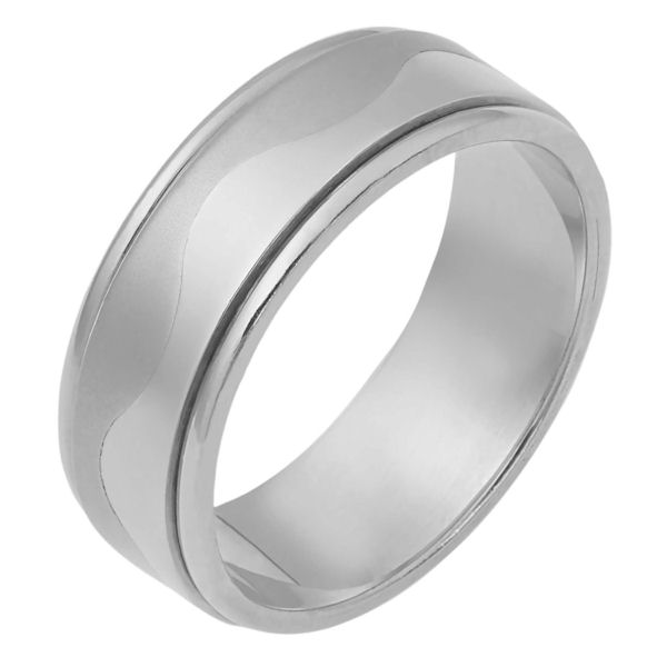 Item # 112081WE - 18 kt white gold, hand made comfort fit Wedding Band 7.5 mm wide. The ring is flat and a curvy carved line lies in the center. The center of the ring is matte finish and the outer edges are polished. Different finishes may be selected or specified.