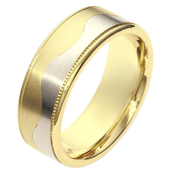 Item # 112091 - 14 kt two-tone hand made comfort fit Wedding Band 8.5 mm wide. The ring is flat and a curvy carved line lies in the center. On each side of the band is a milgrain. The center of the band is matte and the outer edges are polished. Different finishes may be selected or specified.