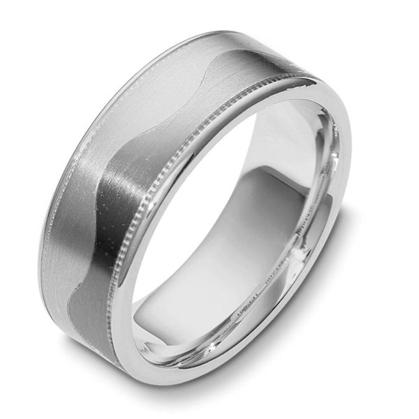 Item # 112091TG - 14K White gold and titanium, comfort fit, 8.0 mm wide ring. The ring is flat and a curvy carved line lies in the center. On each side of the band is a milgrain. The center of the band is matte and the outer edges are polished. Different finishes may be selected or specified.
