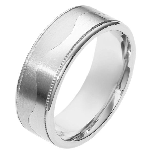 Item # 112091W - 14 kt white gold, hand made comfort fit Wedding Band 8.5 mm wide. The ring is flat and a curvy carved line lies in the center. On each side of the band is a milgrain. The center of the band is matte and the outer edges are polished. Different finishes may be selected or specified.